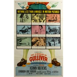 THE 3 WORLDS OF GULLIVER Vintage 1-Sheet Poster Signed by Ray Harryhausen