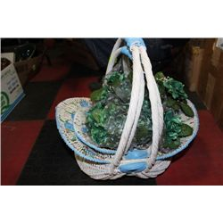 PAIR OF BASKETS WITH ART. FLOWERS