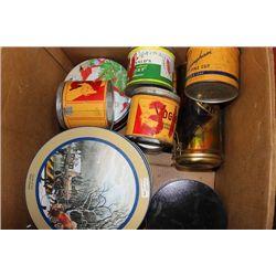 BOX OF COLLECTOR/TOBBACO TINS