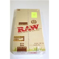 BOX WITH 24 PACKS OF ORGANIC HEMP ROLLING PAPERS