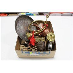 BOX OF BRASS ITEMS