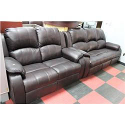 NEW BROWN LEATHER LOOK RECLINING SOFA W/