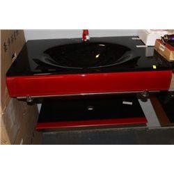 RED/BLACK GLASS BATHROOM VANITY (6427) ON CHOICE