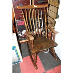 ANTIQUE HIGHBACK SOLID WOOD ROCKING CHAIR