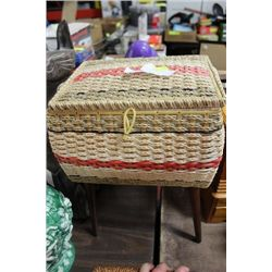 STANDING SEWING BOX W/ CONTENTS