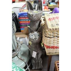 2 DECORATIVE WOODEN CATS