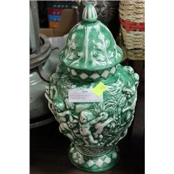 GREEN & WHITE LIDDED PURGATORY VASE