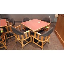4 SOLID WOOD ARM CHAIRS ON COASTERS