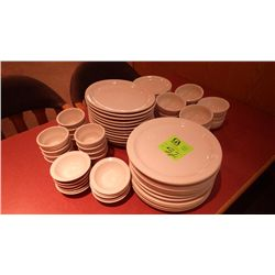 12 ROUND DINNER PLATES, 10 SOUP BOWLS, 12 OVAL DINNER PLATES, 12 SMALL PLATES, 11 PLUS 12 SMALL DESE