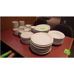 12 ROUND DINNER PLATES, 10 SOUP BOWLS, 12 OVAL DINNER PLATES, 12 SMALL PLATES, 14 PLUS 12 SMALL DESE