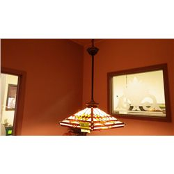 1 STAINED GLASS HANGING LAMP (3 BULB), 1 CEILING FAN