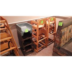 4 CHILD BOOSTER SEATS, 4 WOOD HIGH CHAIRS