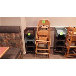4 CHILD BOOSTER SEATS, 3 WOOD HIGH CHAIRS