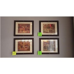4 FRAMED OLD TIME FRAMED PRINTS