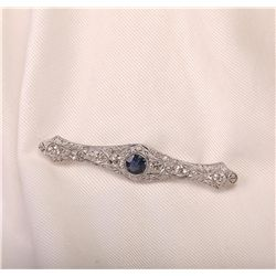 18KT White Gold 1.58ct Sapphire and Diamond Brooch
