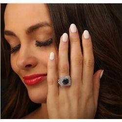 14KT White Gold 3.94ctw Black Diamond Ring