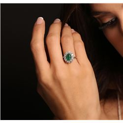 14KT White Gold 2.04ct Emerald and Diamond Ring