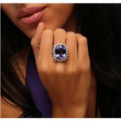 14KT White Gold 15.93ct GIA Certified Tanzanite and Diamond Ring