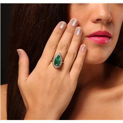 14KT Yellow Gold 7.80ct Emerald and Diamond Ring