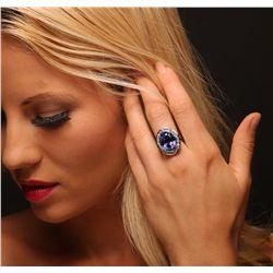 14KT White Gold 14.33ct GIA Cert Tanzanite and Diamond Ring