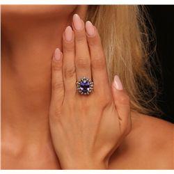 14KT White Gold 6.11ct Tanzanite and Diamond Ring