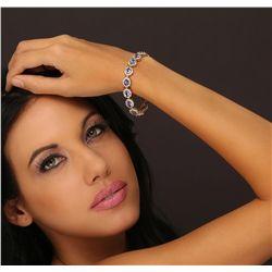 14KT Yellow Gold 9.45ctw Tanzanite and Diamond Bracelet