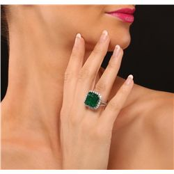 14KT White Gold 8.51ct Emerald and Diamond Ring