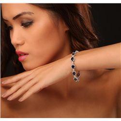 14KT White Gold 18.36ctw Sapphire and Diamond Bracelet