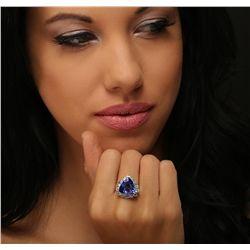 14KT White Gold GIA Certified 7.94ct Tanzanite and Diamond Ring