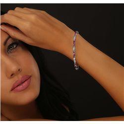 14KT White Gold 0.90ctw Ruby and Diamond Bracelet