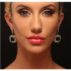 14KT Yellow Gold 13.62ctw Emerald and Diamond Earrings