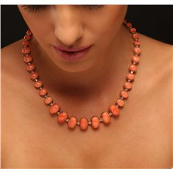 14KT Yellow Gold 78.52ctw Coral and Diamond Necklace