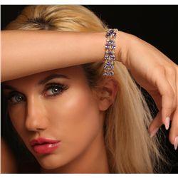 14KT Yellow Gold 24.17ctw Tanzanite and Diamond Bracelet