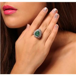 14KT White Gold 5.09ct Emerald and Diamond Ring