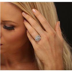 14KT White Gold EGL Certified 2.45ctw Round Brilliant Cut Diamond Ring