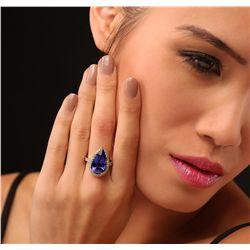 14KT Yellow Gold GIA Certified 8.69ct Tanzanite and Diamond Ring