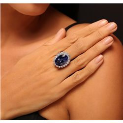 14KT White Gold 14.37ct GIA Certified Tanzanite and Diamond Ring
