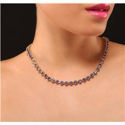 14KT Yellow Gold 39.20ctw Tanzanite and Diamond Necklace