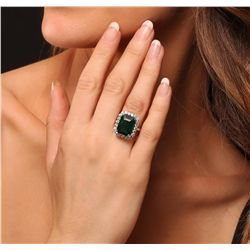 14KT Yellow Gold 10.31ct Emerald and Diamond Ring