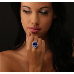 14KT White Gold GIA Certified 15.54ct Tanzanite and Diamond Ring