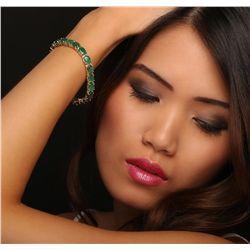 14KT Yellow Gold 18.20ctw Emerald Bracelet