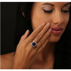 14KT White Gold GIA Certified 7.53ct Tanzanite and Diamond Ring
