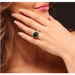 14KT White Gold 4.40ct Emerald and Diamond Ring