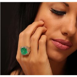 14KT Yellow Gold 9.19ct Emerald and Diamond Ring