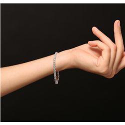 18KT White Gold 7.96ctw Diamond Tennis Bracelet