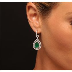 14KT White and Yellow Gold 5.30ctw Emerald and Diamond Dangle Earrings