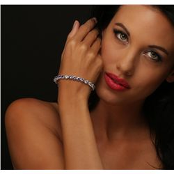 14KT White Gold 9.20ctw Tanzanite and Diamond Bracelet