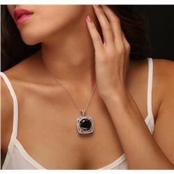 14KT White Gold 29.53ctw Black Diamond Pendant With Chain