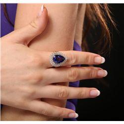 14KT Yellow Gold 8.86ct GIA Certified Tanzanite and Diamond Ring