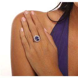 14KT White Gold 5.21ct Tanzanite and Diamond Ring